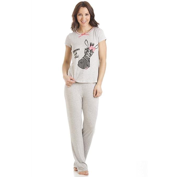 Pijama con pantalón largo y camiseta de manga corta - Motivo cebra - Gris: Amazon.es: Ropa y accesorios
