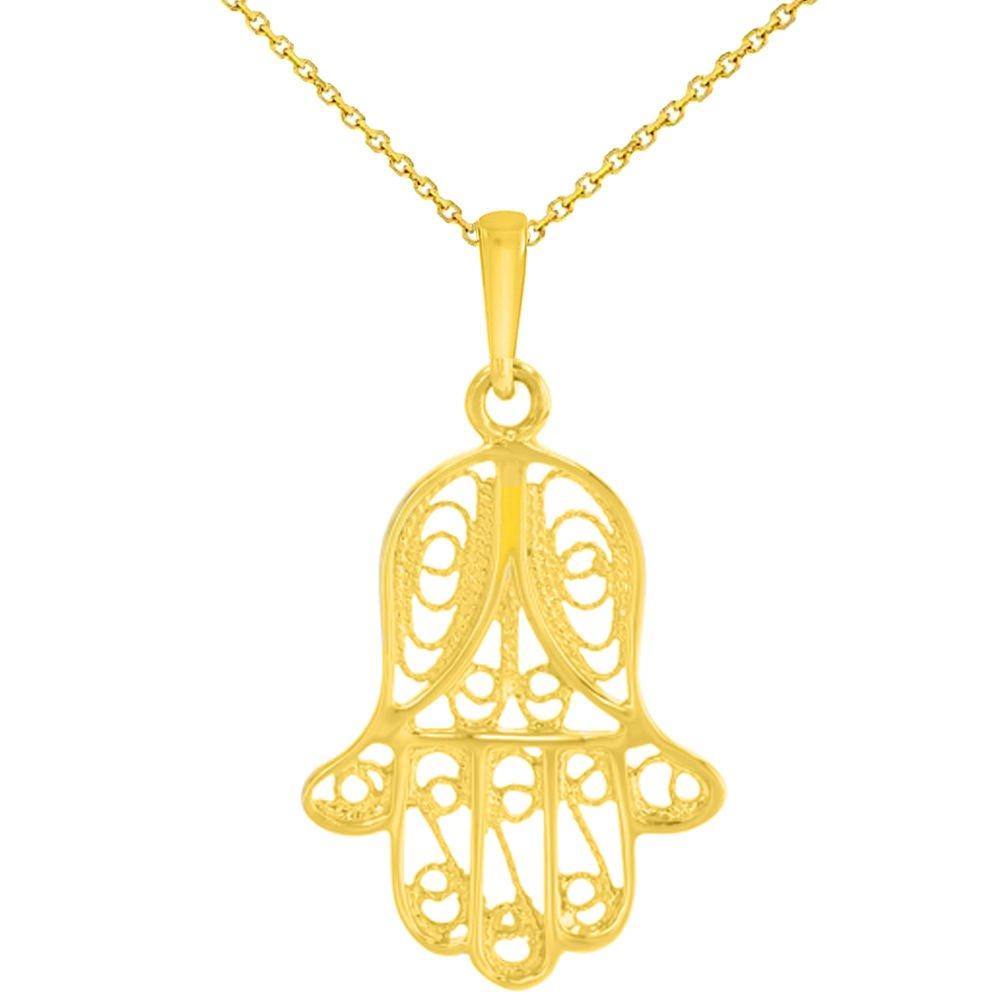 14k Yellow Gold Filigree Hamsa Hand of Fatima Charm Pendant Necklace, 20'' by JewelryAmerica
