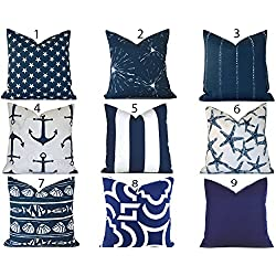 Outdoor Decorative Throw Pillow Cover You Choose Any Size OD Navy Blue