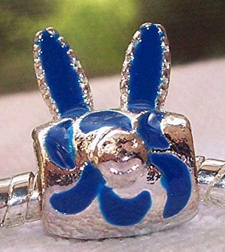 Blue Enamel Rabbit Ears Spacer Bead for Silver European Style Charm Bracelets