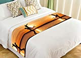 NNBZ Custom Beautiful Sunset Bed Runner Cotton Bedding Scarf Bedding Decor 20x95 inches