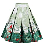 Search : Changuan Women's A-Line Pleated Vintage Skirt Print Casual Flared Midi Skirts