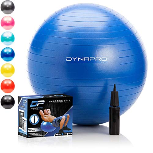 DYNAPRO Exercise Ball - 2,000 lbs Stability Ball - Professional Grade - Anti Burst Exercise Equipment for Home, Balance, Gym, Core Strength, Yoga, Fitness, Desk Chairs (Blue, 55 Centimeters)