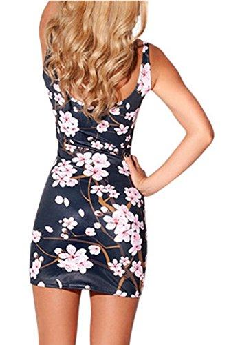 Bodycon Floral impreso Tanque mujeres de Mini vestido las q5Eqd