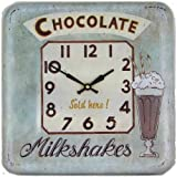 Roger Lascelles Square Tin Wall Clock, Chocolate Design, 12.2-Inch For Sale