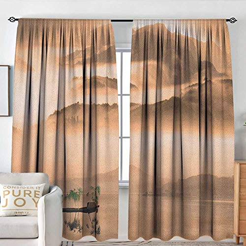 Blackout Valances for Girls Bedroom Art,Chinese Lake Landscape Before Majestic Foggy Mountains in Mist Clouds Dramatic Hill View, Peach,Rod Pocket Curtains for Big Windows 60