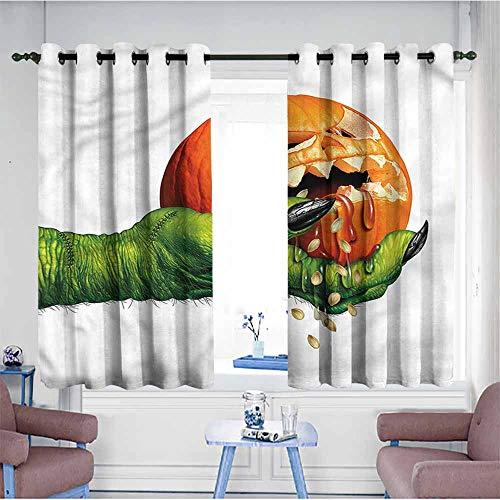 VIVIDX Doorway Curtains,Pumpkin,Scary Halloween Monster,Energy Efficient, Room Darkening,W72x63L]()