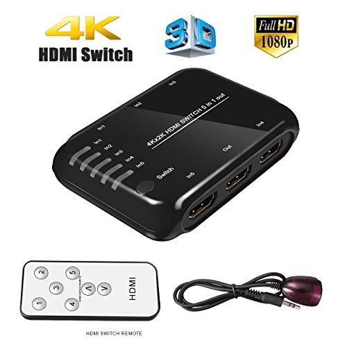 4K 5-Port HDMI Switcher, EPOLLO 5 In 1 Out HDMI Input Splitter Ultra HD HDMI Switch with IR Wireless Remote & AC Adapter, Support Full 3D 4K x 2K for DVD, HDTVs, Projectors, PS3, PS4, PC Ect
