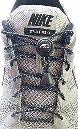 Fast Compete Laces No-tie Reflective Elastic Button-Lock Shoe Laces Black (2 pair)