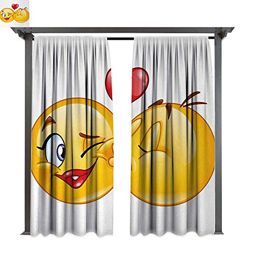 Emoji, Exterior/Outside Curtains, Romantic Flirty Loving Smiley Faces Couple Kissing Eachother Hearts Image Art Print, for Patio Light Block Heat Out Water Proof Drape (W108 x L84 Inches, Multicolor)