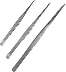 "Aoyoho 3 Pack Stainless Steel Tongs tweezer with precision serrated tips Lengths: 8"" 10"" and 12"""