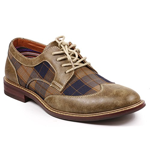 Metrocharm MET525-1 Men's Plaid Lace Up Wing Tip Classic Oxford Dress Shoes (9.5, Brown / Beige / (Plaid Shoes)