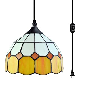 Stepeak Tiffany Style Plug in Pendant Light with 16.4 Ft Hanging Cord and in Line On/Off Dimmer Switch, Perfect Vintage Swag Ceiling Lamp for Dining Room, Bedroom or Porch (Yellow)