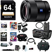 Sony 55mm F1.8 Sonnar T FE ZA Lens w/ VGC77AM Vertical Grip Bundle