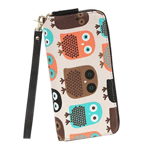 Fashion Owl Purse Canvas Zipper Clutch Wallet Phone Card Checkbook Holder by Très Chic Mailanda
