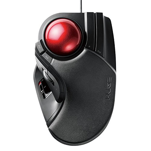 Horizontal Scroll Mouse (ELECOM M-HT1URBK Wired Trackball Mouse Larger, Ergonomic Design, 8-Button Function with Smooth Tracking, Precision Optical Gaming Sensor for Home, Work, Office)