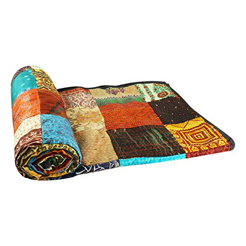 Aheli Vibrant Indian Tribal Cotton Kantha Quilts Bed Blanket Throw Bedspread Old Assorted Patches Made Rally (Indian Tribal)