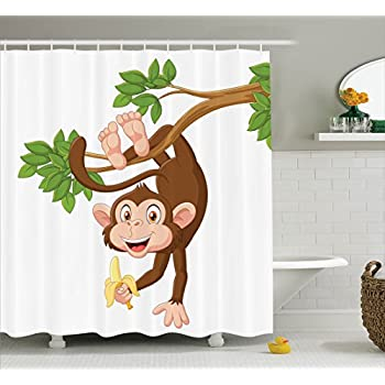 Ambesonne Cartoon Decor Shower Curtain Set Funny Monkey Hanging From Tree And Holding Banana Jungle