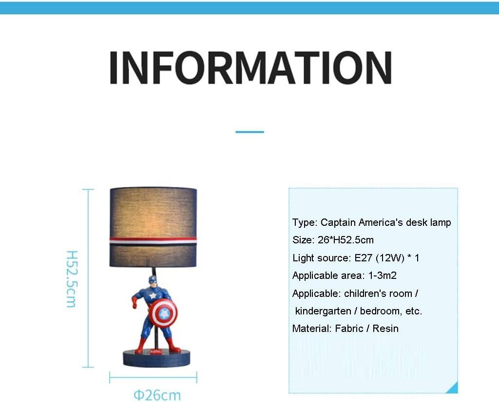 Augenschutz YYF Nachttischlampen Color : Red Cartoon Dekoration Energiesparlampe Kinderzimmer Spiderman Captain America Jungen Schlafzimmer