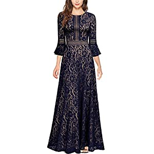Bell Sleeve Dress | MissMay Vintage Full Lace Contrast Formal Long Maxi Dress