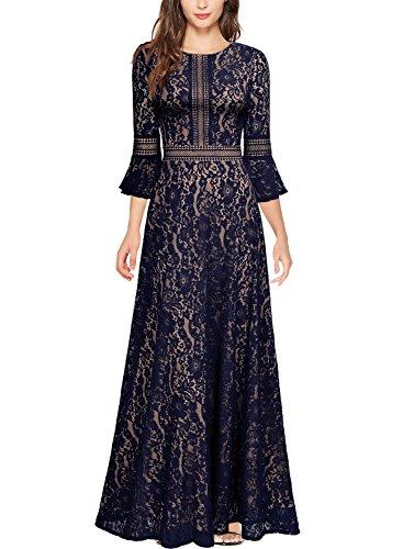MissMay Women's Vintage Full Lace Contrast Bell Sleeve Formal Long Maxi Dress (Medium, Navy Blue-Long)