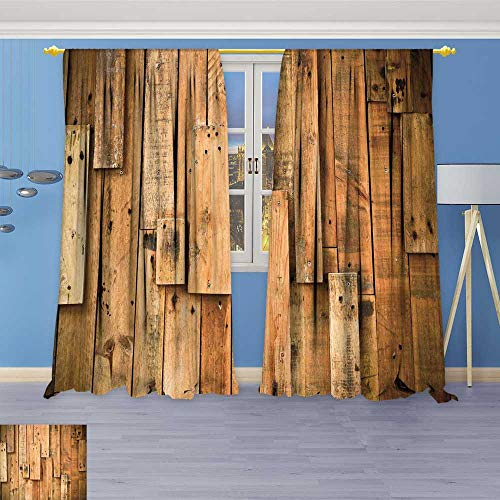 Leigh-home Room Darkening Wide Curtains Wood Plank Hard Wood Customized Curtains 96W x 84L Inch