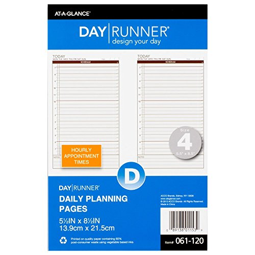(Day Runner Today Daily Undated Calendar Pages, 5-1/2