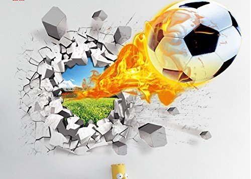ORDERIN Cute 3d Mural Fire Football Removable Wall Stickers for Kids Children Room Home Wall Decor (Removable Kids Wall Stickers compare prices)