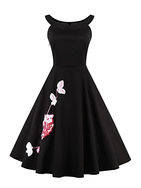 71264381db7 Kimring Women s Vintage Scoop Neck Embroidery Floral Print Cocktail Party  Swing Dress Plus Size Black Small