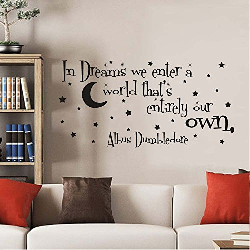 Movies That Start With The Letter X (BATTOO In Dreams We Enter A World That's Entirely Our Own Wall Decal Vinyl Sticker Quote Nursery Kids Baby Children Decor(Black, 22