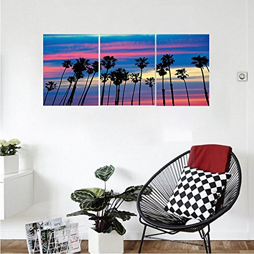 Liguo88 Custom canvas Palm Tree Decor Surreal California Tree Tops Upward View to Magic Sky in Hazy Tones Picture Wall Hanging for Bedroom Living Room Blue Pink (Bronze Finish California)