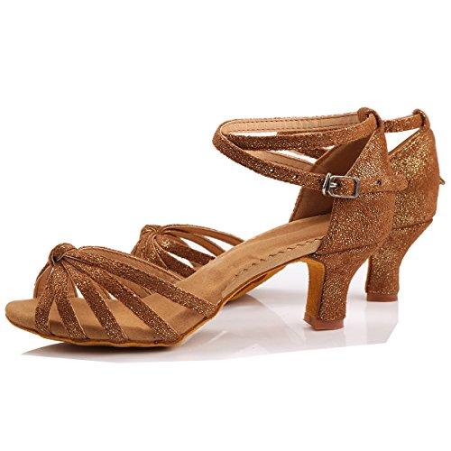 Marron De Femme Standard Danse Chaussures Sandales Pour Ballroom 5 Triworiae talon Latine Cm OTzF5qqw