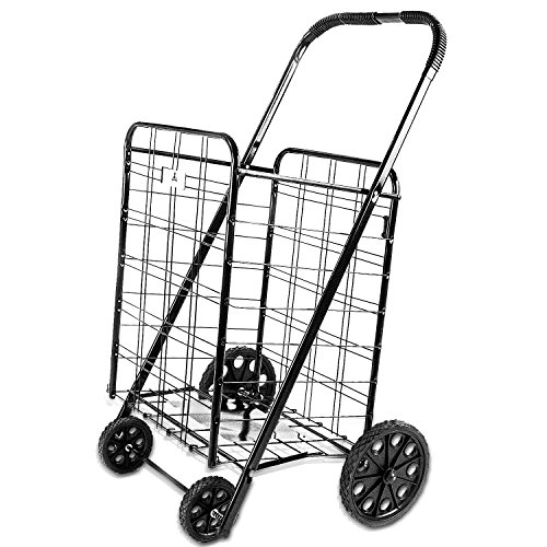 (ATH Large Deluxe Rolling Utility / Shopping Cart - Stowable Folding Heavy Duty Cart with Rubber Wheels For Haul Laundry, Groceries, Toys, Sports Equipment, (Black, XL))