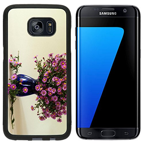 Liili Samsung Galaxy S7 Edge Aluminum Backplate Bumper Snap Case iPhone6 IMAGE ID: 18996821 A still life with a bouquet of Michaelmas Daisy in a blue vase with a ()