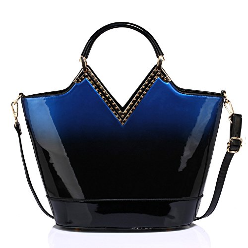 Tone Female Handbag New For Bag Women Two Patent Luxury Stylish Design 1 With Leather Navy Strap Designer Ladies wBxW4PW0q1