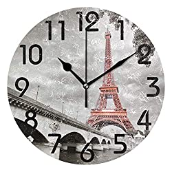 Naanle 3D Stylish Eiffel Tower Paris in Monochrome Style Round Wall Clock Decorative, 9.5 Inch Battery Operated Quartz Analog Quiet Desk Clock for Home,Office,School
