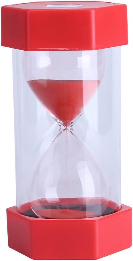 Fdit Reloj de arena de 3/10/20/30/60 minutos, hogar, oficina o como decoración, regalo 30 minutos, amarillo, reutilizable, embalaje Socialme-eu, rojo