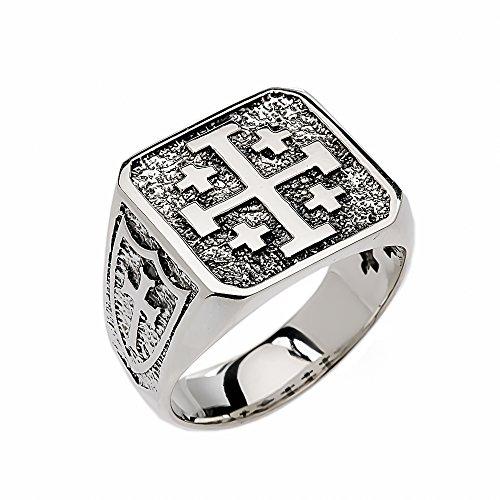 Men's Sterling Silver Jerusalem Cross Ring (Size 14) - Jerusalem Cross Ring Size 14