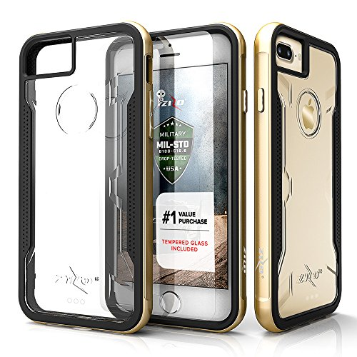 Zizo Shock Series Compatible with iPhone 8 Plus case Military Grade Drop Tested with Tempered Glass Screen Protector iPhone 7 Plus case Gold