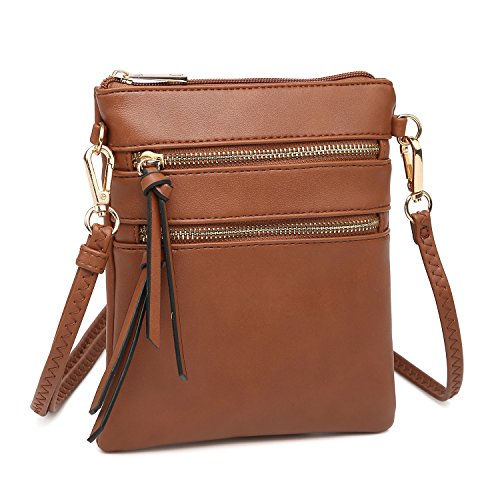 Women's Mini Crossbody Bag Multi Pocket Messenger Bag Functional Lightweight Shoulder Bag (Brown)