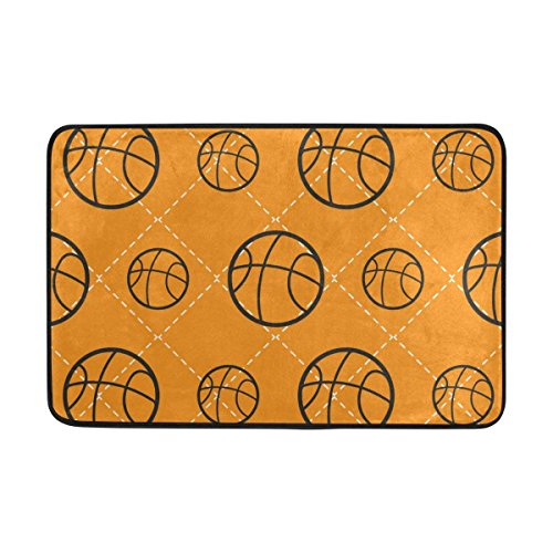 Area Rug Basketball Pattern Lightweight Doormat 23.6x15.7 inch, Memory Sponge Indoor Outdoor Decor Living Room Bedroom Office Kitchen (Rainbow Basketball Latex)
