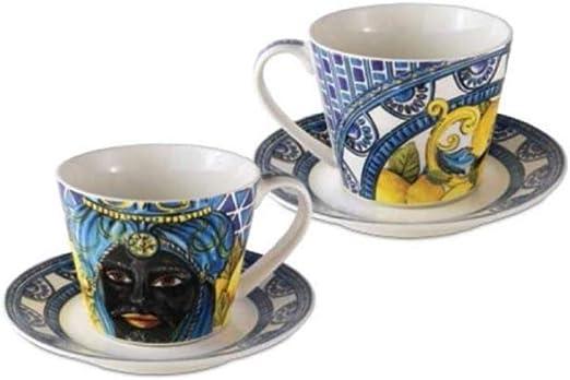 Set due tazzine da caff/è BACI MILANO SICILY in ceramica blu BMCOF.BRM02