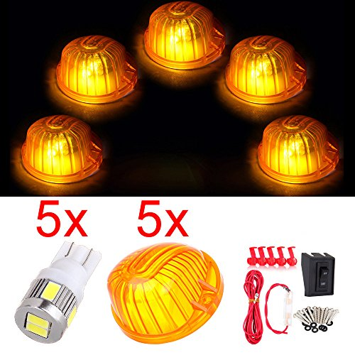 CCIYU For Chevrolet/GMC C/K 5x 9069A Cab Marker Round Light Amber Lens + wiring pack switch 5pcs 168 led 6-5730-SMD Xenon White