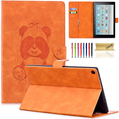 Dteck Case for Amazon Fire HD 10 Tablet (2015 & 2017 Release) - Slim Fit 3D Cute Panda Embossed Wallet PU Leather Case Cover Folio Stand with Auto Sleep/Wake for Fire HD 10.1 Inch Tablet, B_Orange