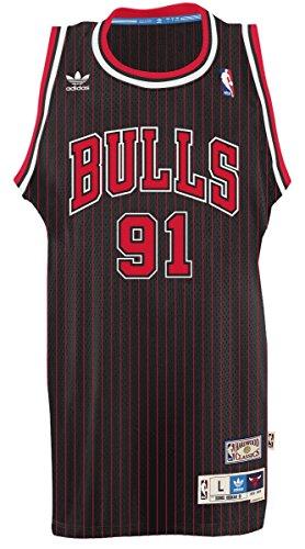 adidas Chicago Bulls #91 Dennis Rodman NBA Soul Swingman Jersey, Black, Size: Small
