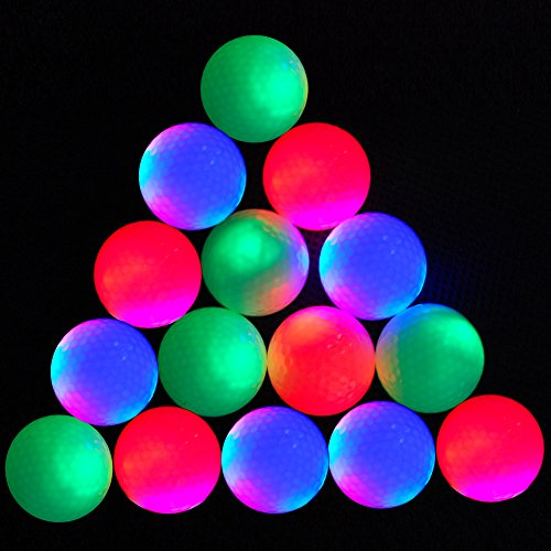 EliteShine 15-piece LED Night Balls Glow in the Dark Night Flyer Golf Ball Range Balls Christmas Gift (Mixed -