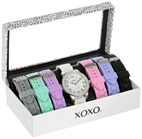 (XOXO Women's Analog Watch with Silver-Tone Case, Crystal-Inset Bezel, 7 Interchangeable Bands Included - Official XOXO Woman's Silver-Tone Watch, Silicone Buckle Straps - Model: XO9069)