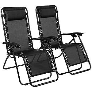 EVELYN LIVING Set of 2 Zero Gravity Chair Sunloungers Beach Garden Outdoor Patio Sun loungers Folding Reclining Lounger Chairs