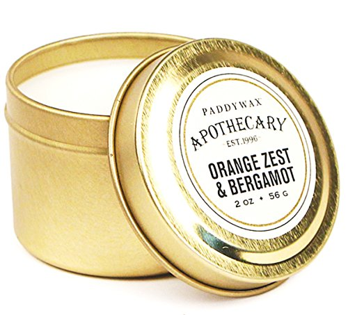Paddywax Apothecary Collection Scented Travel Tin Candle, 2-Ounce, Orange Zest & Bergamot
