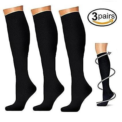 3 pares Calcetines de compresión para hombres y mujeres, calcetines de compresión de 20 -